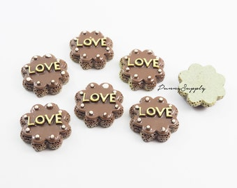 Free Shipping 8 Pcs - Love Chocolate Cake Bakery Resin 3D Cabochon Cab Flat back for Craft Making - MAS.37