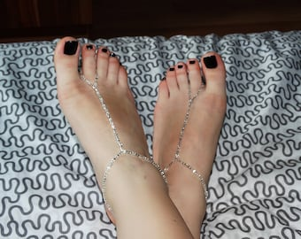 Barefoot sandals, Crystals barefoot sandals, Seed beads barefoot sandals, Sparkle bare sandals