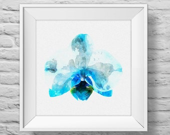 ORCHID IN BLUE - square unframed art print, inspirational, nature, floral, watercolor, photography, wall decor. (R&R0137)