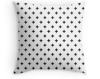 Pillow Cover White Black Swiss Cross Home Bed Room Dorm Decor Hipster 14x14 16x16 18x18 20x20 26x26 Square Cover
