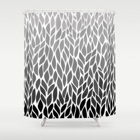 Leaf Design Black White Grey Shower Curtain Gray Ombre Leaf