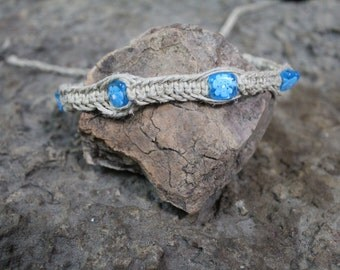 Blue Glass Flower Fishbone Hemp Choker/Wrap Bracelet/Anklet