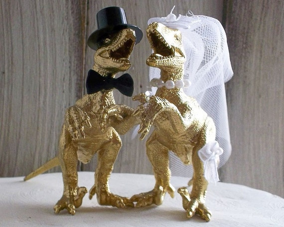 dinosaur wedding cake toppers dinosaur wedding cake topper gold dinosaur by 13532