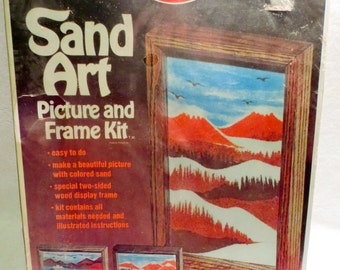 1975 Vintage Sand Art Picture and Frame Avalon #7860