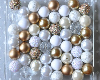 Bulk gold and white kit bubblegum beads wholesale, 50 or 100 piece chunky bead kit, Plastic beads, Gumball bead wholesale, Wedding beads