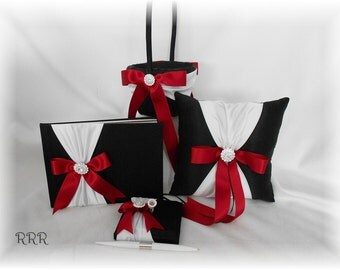 Black and White with Apple Red Wedding Guest Book, Guest Pen, Flower Girl Basket, Ring Pillow, Black White Red Wedding Decor