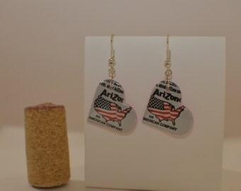 Small Heart Earrings made from Arizona Ice Tea can