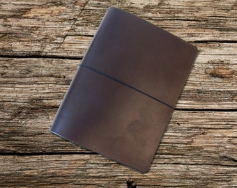 Refillable Leather Notebook cover. A5 Brown Cover for three Rhodia or similar notebooks. Simple Midori style refillable journal.