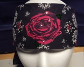 Pink rose bandana with pink accented crystals