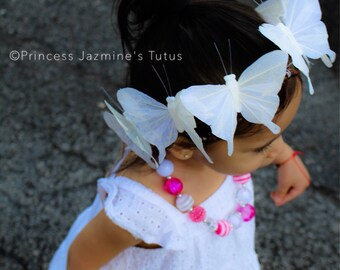 Butterfly crown . Butterfly tiara . Butterfly headband . Photo props . Butterfly theme . White butterfly . White butterfly crown .