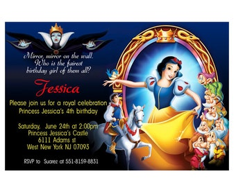 Snow white princess Birthday Invitation- Printable