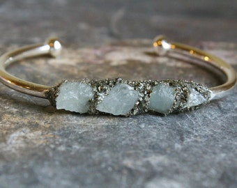 Aquamarine Stone Jewelry - Aquamarine Gemstone Jewelry - Aquamarine Silver Jewelry - Birthstone Jewelry for March - Raw Aquamarine Bracelet