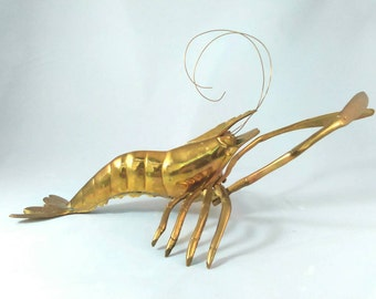 Vintage Large Brass Prawn Shrimp