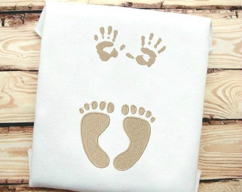 x2 designs! Foot and Hand Prints machine embroidery design file in 9 formats **** instant download