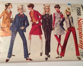 "1967 Simplicity Pattern #7256 Retailed at 75 Cents 20 Pieces Jacket Vest Skirt Pants Junior Size 11 Bust 31 1/2"""
