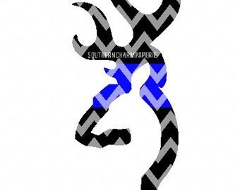 Deer Head BLUE LINE SVG Cut File Hunter Sportsman Law Enforcement Officer Support the Blue