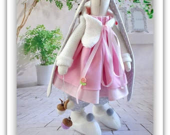 Cloth Art Doll Bunny. Soft Rabbit Doll in pink white gray. Collectible toy, stuffed hare animals, Easter Bunny handmade.Tilda rag-doll bunny