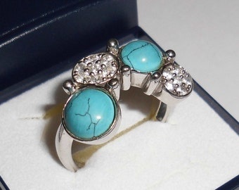 Nostalgic 925 Silver ring with turquoise and Crystal 18.9 mm, size 8.7 SR462