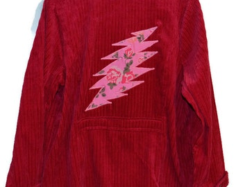 The Grateful Dead Roses Bolt OOAK 1XL Upcycled Corduroy Jacket Plus Size Hippie Clothes for Women Boho Fashion!