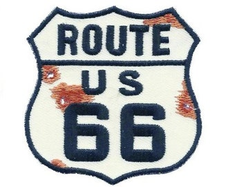 """Rustic Route 66 Patch - """"Bullet Holes and Rust"""" (Iron on)"""