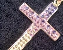 Handmade Purple Swarovski Stone Solid 925 Sterling Silver Pendant Cross Silver Cross Necklace Cross Necklace Women Silver Cross Necklace