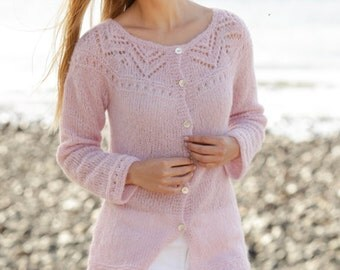 Knit Alpaca silk knit Jacket, cardigan hand knit with lace pattern, round yoke and vents in the side , Alpaca, Silk