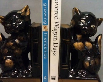 Black with Gold Cat Book Ends