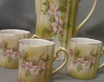 Vintage Nippon Chocolate Pot and Cups Hand Painted