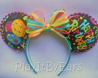 "Birthday Handmade ""Happy Birthday"" Multi Color Custom Mouse Ears"