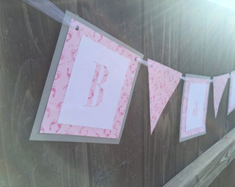 Baby Girl Shower Banner, Pink, Gray, and White Banner, Baby Shower, Paper Banner, flag banner