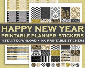 Happy New Year Printable Planner Stickers - 100 Printable Stickers - Black & Gold New Year's - Instant Downloadable Letter Size PDF