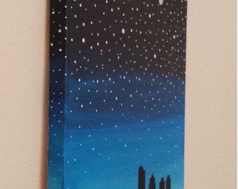 Night time skyline canvas