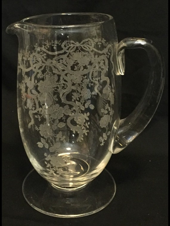 FREE SHIPPING-Elegant-Depression-Glass-By Fostoria-Pattern Romance-#6001-Footed-No Ice Lip-Pitcher