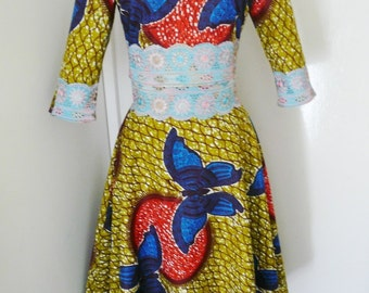 SAMPLE SALE - 40% OFF - Green and Blue Butterfly Ankara Two Piece Dress, Long African Dress, Long Skirt and Cropped Top – One of a kind