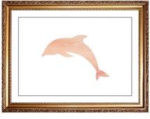 Dolphin Print, DIY Printable Neutral Peach Watercolor Dolphin Beach Sea Ocean Nautical Print Picture Art Wall Decor, Mix Match Printable Art