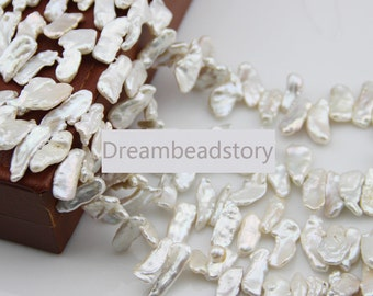 White Biwa Pearl Beads, Freedom Top Drilled Stick Cultured Pearl Loose Beads Supplies (XMZ45)