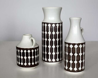 Set of 3 vases made by Jasba, West German Pottery, 60'ties