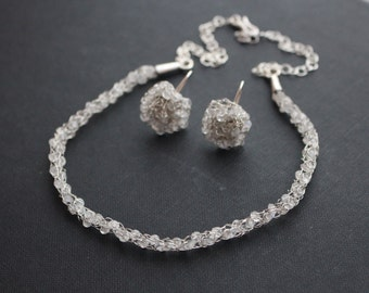 silver set - Moonstone in cage - necklace and earrings