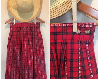 Vintage Red Plaid Skirt