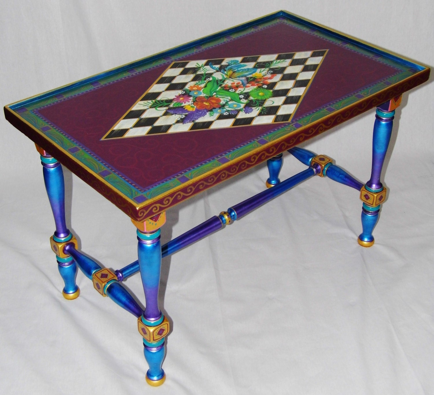 Checkered Coffee Table Vintage Hand Painted Iridescent