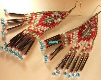 Earrings with seed beads
