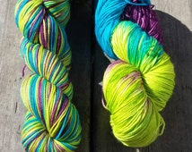 SALE!! Piccadilly, Fingering Weight Sock Yarn, Hand Dyed Yarn, Hand Dyed Sock Yarn, Hand Painted SOck Yarn -  Ready to ship