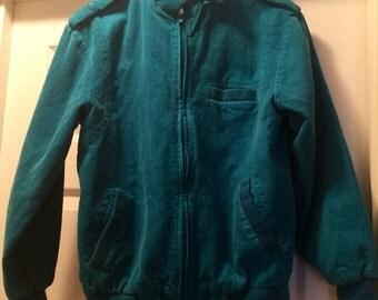 Adorable ladies turquoise corduroy jacket by Unicorn. Vintage, size L
