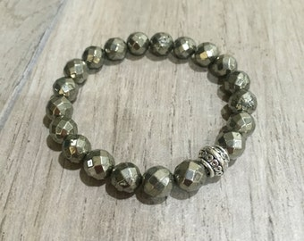 Faceted pyrite beaded bracelet under 20 free shipping