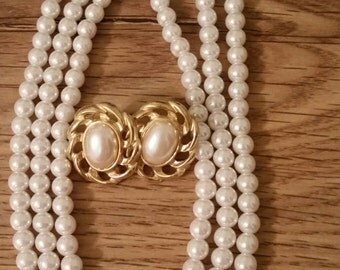 Necklace Earrings Pearls Gold Tone Vintage