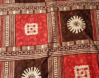 Vintage THC Hawaiian Textiles #18311  Barkcloth fabric 2 yards, Orange, Brown and Cream 1960's-1970's, Mid Century, Tiki