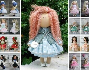 Handmade doll Tilda doll Rag doll Art doll Green doll Soft doll Cloth doll Fabric doll Baby gift Textile doll Poupée de chiffon by Margarita