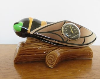 old small cicada thermometer French ceramic Vallauris mid century 1950 1960 '50s 60's old vintage french thermometer cicada