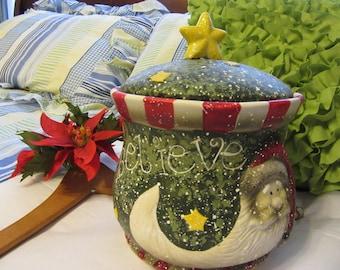 Cookie Jar Santa Vintage Cookie Jar Christmas Cookie Jar Believe Cookie Jar Ceramic Cookie Jar Holiday Cookie Jar Gift Idea Christmas Decor