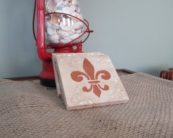 Metallic Fleur de Lis on Travertine